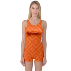 Orange Maze One Piece Boyleg Swimsuit