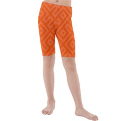 Orange Maze Kids  Mid Length Swim Shorts