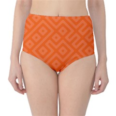 Orange Maze Classic High-Waist Bikini Bottoms