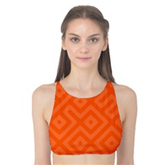 Orange Maze Tank Bikini Top