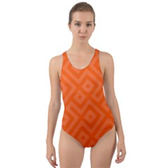 Orange Maze Cut-out Back One Piece Swimsuit by retrotoomoderndesigns