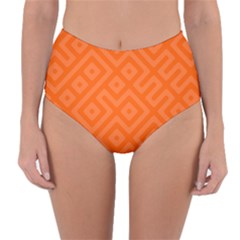 Orange Maze Reversible High-Waist Bikini Bottoms