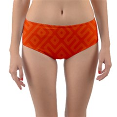 Orange Maze Reversible Mid-Waist Bikini Bottoms