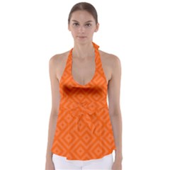 Orange Maze Babydoll Tankini Top