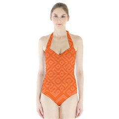 Orange Maze Halter Swimsuit