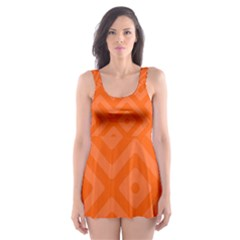 Orange Maze Skater Dress Swimsuit