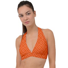 Orange Maze Halter Plunge Bikini Top