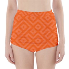 Orange Maze High-Waisted Bikini Bottoms