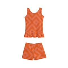 Orange Maze Kids  Boyleg Swimsuit by retrotoomoderndesigns