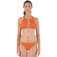 Orange Maze Perfectly Cut Out Bikini Set