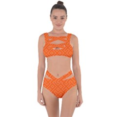Orange Maze Bandaged Up Bikini Set