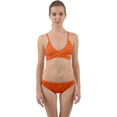 Orange Maze Wrap Around Bikini Set by retrotoomoderndesigns