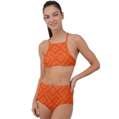 Orange Maze High Waist Tankini Set by retrotoomoderndesigns