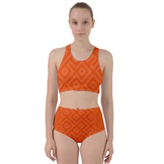 Orange Maze Racer Back Bikini Set