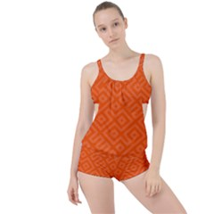 Orange Maze Boyleg Tankini Set