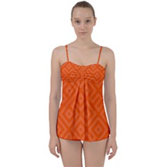 Orange Maze Babydoll Tankini Set