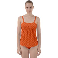 Orange Maze Twist Front Tankini Set
