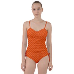 Orange Maze Sweetheart Tankini Set