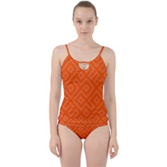 Orange Maze Cut Out Top Tankini Set