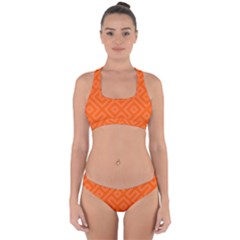 Orange Maze Cross Back Hipster Bikini Set