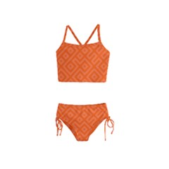 Orange Maze Girls  Tankini Swimsuit
