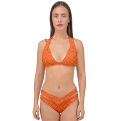 Orange Maze Double Strap Halter Bikini Set