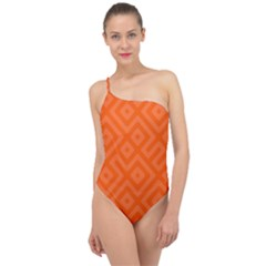 Orange Maze Classic One Shoulder Swimsuit