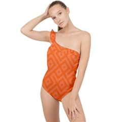 Orange Maze Frilly One Shoulder Swimsuit