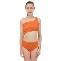 Orange Maze Spliced Up Two Piece Swimsuit