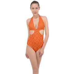 Orange Maze Halter Front Plunge Swimsuit