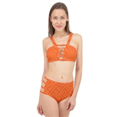 Orange Maze Cage Up Bikini Set