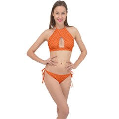 Orange Maze Cross Front Halter Bikini Set