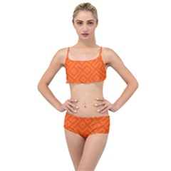 Orange Maze Layered Top Bikini Set