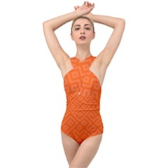 Orange Maze Cross Front Low Back Swimsuit by retrotoomoderndesigns