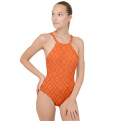 Orange Maze High Neck One Piece Swimsuit