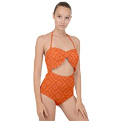 Orange Maze Scallop Top Cut Out Swimsuit
