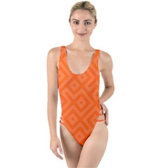 Orange Maze High Leg Strappy Swimsuit