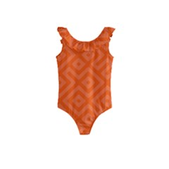 Orange Maze Kids  Frill Swimsuit