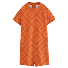 Orange Maze Kids  Boyleg Half Suit Swimwear