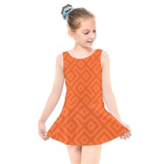 Orange Maze Kids  Skater Dress Swimsuit by retrotoomoderndesigns