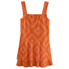 Orange Maze Kids  Layered Skirt Swimsuit