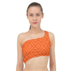 Orange Maze Spliced Up Bikini Top  by retrotoomoderndesigns