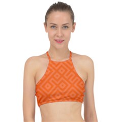Orange Maze Racer Front Bikini Top