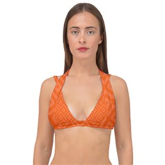 Orange Maze Double Strap Halter Bikini Top