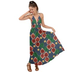 Figs And Monstera  Backless Maxi Beach Dress by VeataAtticus