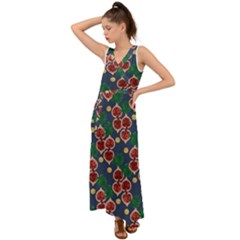 Figs And Monstera  V-neck Chiffon Maxi Dress by VeataAtticus