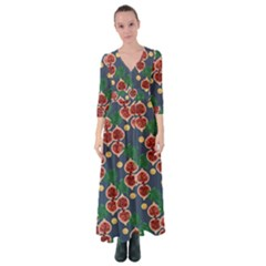 Figs And Monstera  Button Up Maxi Dress by VeataAtticus
