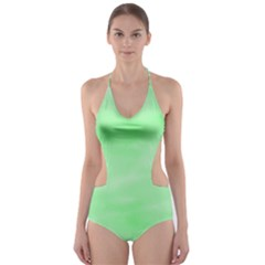 Mint Watercolor Cut-Out One Piece Swimsuit