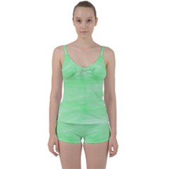 Mint Watercolor Tie Front Two Piece Tankini
