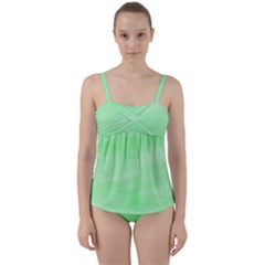 Mint Watercolor Twist Front Tankini Set by retrotoomoderndesigns